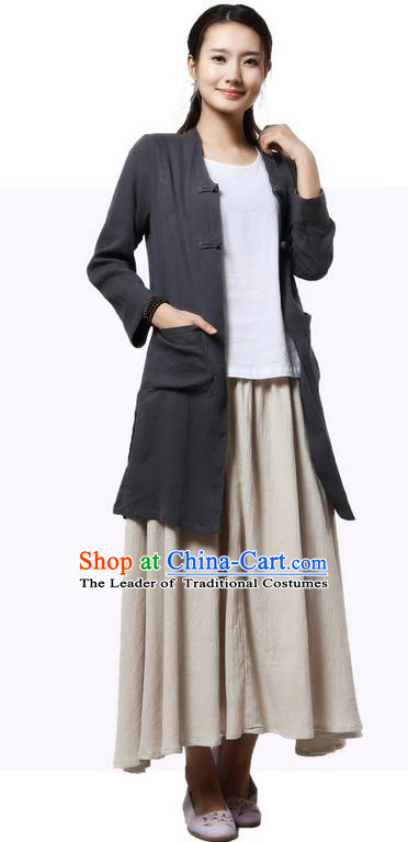 Top Chinese Traditional Costume Tang Suit Grey Coats, Pulian Zen Clothing China Cheongsam Upper Outer Garment Plated Buttons Dust Coats for Women