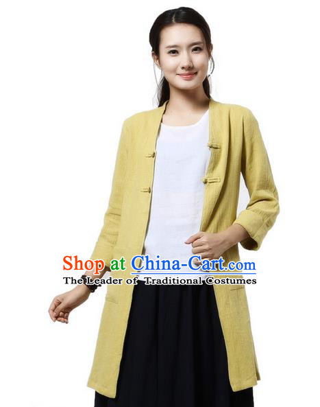 Top Chinese Traditional Costume Tang Suit Yellow Coats, Pulian Zen Clothing China Cheongsam Upper Outer Garment Plated Buttons Dust Coats for Women