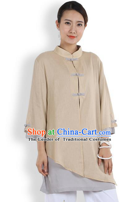 Top Chinese Traditional Costume Tang Suit Double-deck Linen Blouse, Pulian Clothing China Cheongsam Upper Outer Garment Khaki Plated Buttons Shirt for Women