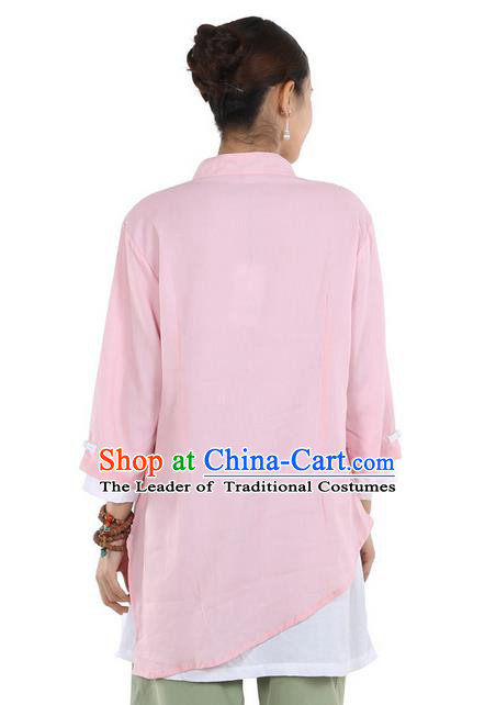 Top Chinese Traditional Costume Tang Suit Double-deck Linen Blouse, Pulian Clothing China Cheongsam Upper Outer Garment Pink Plated Buttons Shirt for Women