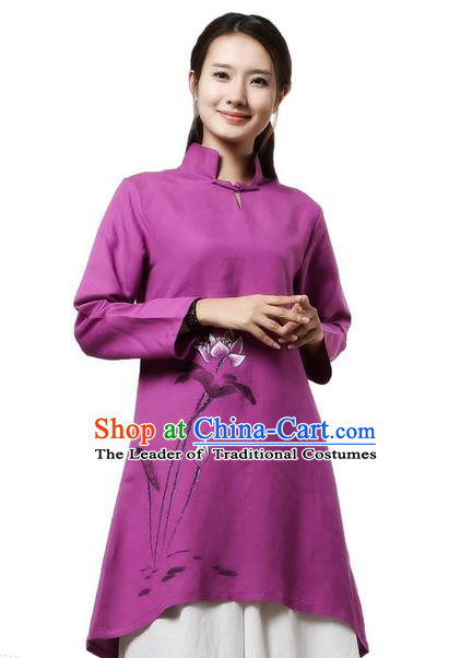 Top Chinese Traditional Costume Tang Suit Linen Painting Lotus Qipao Dress, Pulian Clothing China Republic of China Cheongsam Upper Outer Garment Purple Dress for Women