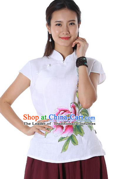 Top Chinese Traditional Costume Tang Suit White Linen Painting Peony Flower Blouse, Pulian Zen Clothing China Cheongsam Upper Outer Garment Stand Collar Shirts for Women
