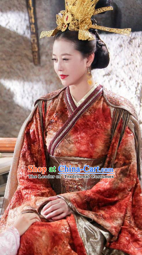 Traditional Chinese Ancient Queen Phoenix Costume and Headpiece Complete Set, Xuan-Yuan Sword Legend  The Clouds of Han the Three Kingdoms Imperial Empress Hanfu Clothing for Women