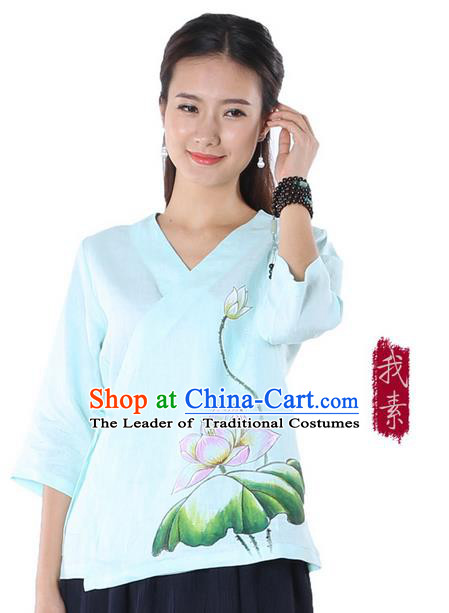 Top Chinese Traditional Costume Tang Suit Blue Painting Pink Lotus Blouse, Pulian Zen Clothing China Cheongsam Upper Outer Garment Slant Opening Shirts for Women