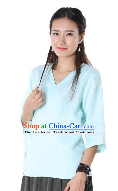 Top Chinese Traditional Costume Tang Suit Blue Blouse, Pulian Zen Clothing China Cheongsam Upper Outer Garment Slant Opening Shirts for Women