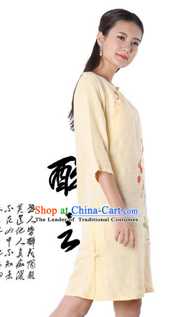 Top Chinese Traditional Costume Tang Suit Yellow Linen Qipao Painting Daffodil Yoga Dress, Pulian Clothing Republic of China Cheongsam Upper Outer Garment Dress for Women