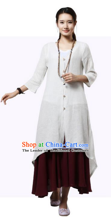 Top Chinese Traditional Costume Tang Suit White Linen Qipao Coats, Pulian Clothing Republic of China Upper Outer Garment Dust Coats for Women