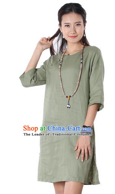 Top Chinese Traditional Costume Tang Suit Green Linen Qipao Yoga Dress, Pulian Clothing Republic of China Cheongsam Upper Outer Garment Dress for Women