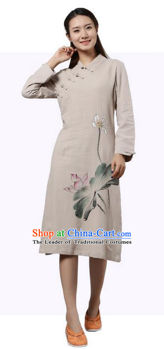 Top Chinese Traditional Costume Tang Suit Slant Opening Plated Buttons Qipao Dress, Pulian Clothing Republic of China Cheongsam Painting Lotus Beige Dress for Women