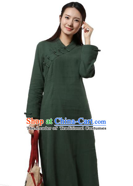 Top Chinese Traditional Costume Tang Suit Slant Opening Plated Buttons Qipao Dress, Pulian Clothing Republic of China Cheongsam Green Dress for Women