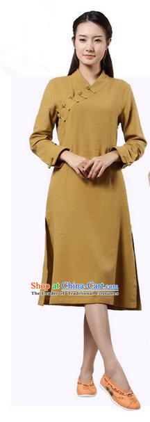 Top Chinese Traditional Costume Tang Suit Slant Opening Plated Buttons Qipao Dress, Pulian Clothing Republic of China Cheongsam Khaki Dress for Women