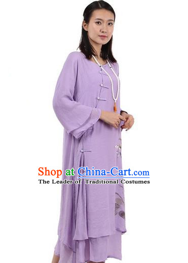 Top Chinese Traditional Costume Tang Suit Purple Plated Buttons Qipao Dress, Pulian Clothing Republic of China Cheongsam Hand Painting Lotus Dress for Women