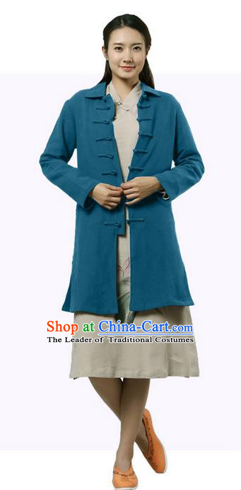 Top Chinese Traditional Costume Tang Suit Plated Buttons Coats, Pulian Clothing Republic of China Cheongsam Cyan Dust Coats for Women