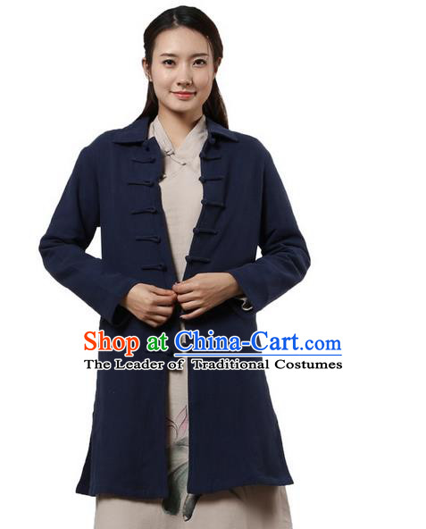 Top Chinese Traditional Costume Tang Suit Plated Buttons Coats, Pulian Clothing Republic of China Cheongsam Navy Dust Coats for Women