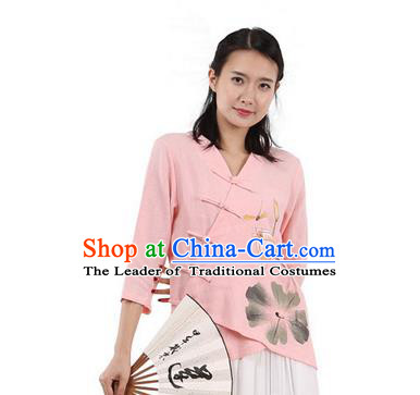 Top Chinese Traditional Costume Tang Suit Slant Opening Painting Lotus Pink Blouse, Pulian Zen Clothing China Cheongsam Upper Outer Garment Plated Buttons Shirts for Women