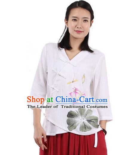 Top Chinese Traditional Costume Tang Suit Slant Opening Painting Lotus White Blouse, Pulian Zen Clothing China Cheongsam Upper Outer Garment Plated Buttons Shirts for Women