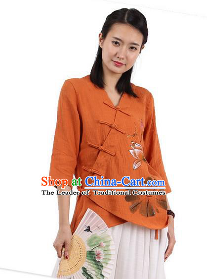 Top Chinese Traditional Costume Tang Suit Slant Opening Painting Lotus Orange Blouse, Pulian Zen Clothing China Cheongsam Upper Outer Garment Plated Buttons Shirts for Women