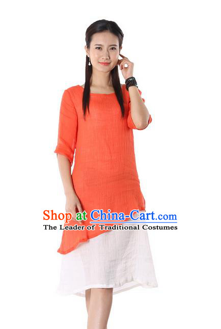 Top Chinese Traditional Costume Tang Suit Orange Blouse, Pulian Zen Clothing China Cheongsam Dress Upper Outer Garment Shirts for Women