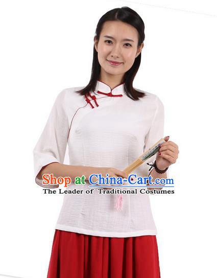 Top Chinese Traditional Costume Tang Suit Red Edge Blouse, Pulian Zen Clothing China Cheongsam Upper Outer Garment Slant Opening Shirts for Women