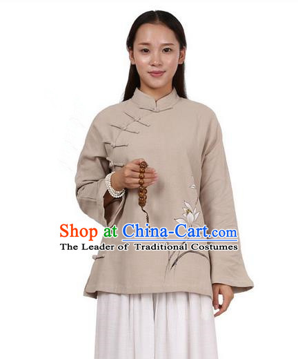 Top Chinese Traditional Costume Tang Suit Linen Upper Outer Garment Khaki Blouse, Pulian Zen Clothing Republic of China Cheongsam Painting Flower Shirts for Women
