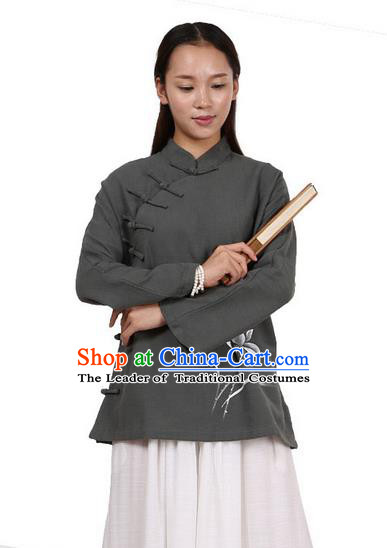 Top Chinese Traditional Costume Tang Suit Linen Upper Outer Garment Atrovirens Blouse, Pulian Zen Clothing Republic of China Cheongsam Painting Flower Shirts for Women