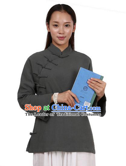Top Chinese Traditional Costume Tang Suit Linen Upper Outer Garment Atrovirens Blouse, Pulian Zen Clothing Republic of China Cheongsam Shirts for Women