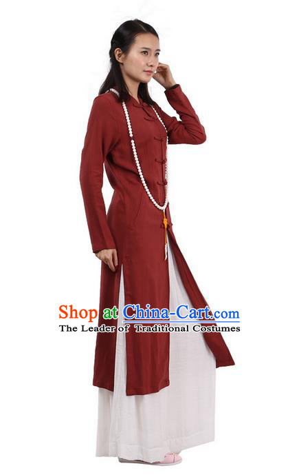 Top Chinese Traditional Costume Tang Suit Plated Buttons Linen Outer Garment Coats, Pulian Zen Clothing Republic of China Cheongsam Red Dust Coat for Women