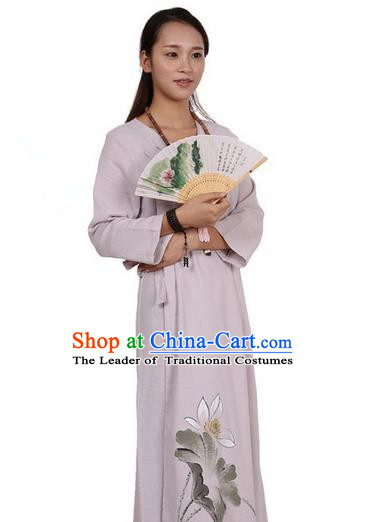 Top Chinese Traditional Costume Tang Suit Linen Qipao Dress, Pulian Zen Clothing Republic of China Cheongsam Painting Light Purple Long Dress for Women