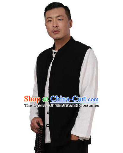 Traditional Chinese Kung Fu Costume Martial Arts Linen Plated Buttons Waistcoat Pulian Meditation Clothing, China Tang Suit Vest Tai Chi Black Weskit for Men