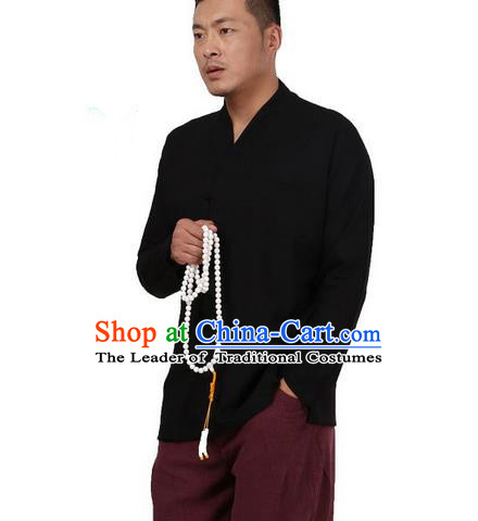 Traditional Chinese Kung Fu Costume Pulian Meditation Clothing Martial Arts Linen Slant Opening Shirts, China Tang Suit Upper Outer Garment Black Overshirt for Men