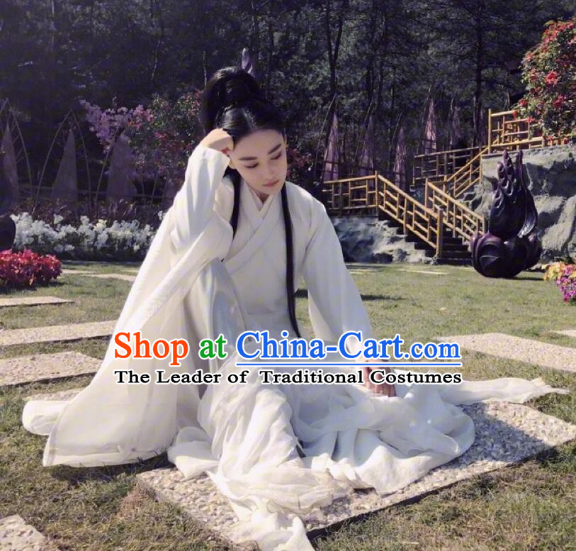 Traditional Chinese Ancient Heroine Costume, Chinese Teleplay Flower Shabana Flyings Sky Song Dynasty Swordswoman Clothing and Headpiece Complete Set for Women