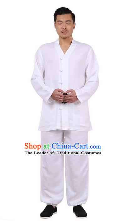 Traditional Chinese Kung Fu Costume Martial Arts Linen Slant Opening White Suits Pulian Meditation Clothing, China Tang Suit Uniforms Tai Chi Clothing for Men