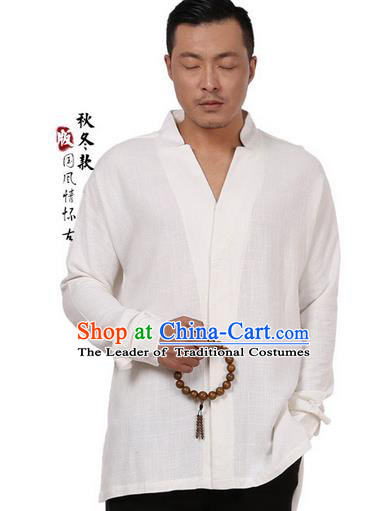 Traditional Chinese Kung Fu Costume Martial Arts Linen Beige Shirts Pulian Meditation Clothing, China Tang Suit Overshirts Tai Chi Clothing for Men