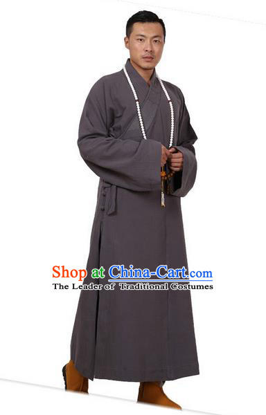 Traditional Chinese Kung Fu Costume Martial Arts Monk Robes Pulian Meditation Clothing, China Tang Suit Shaolin Wushu Grey Frock for Men