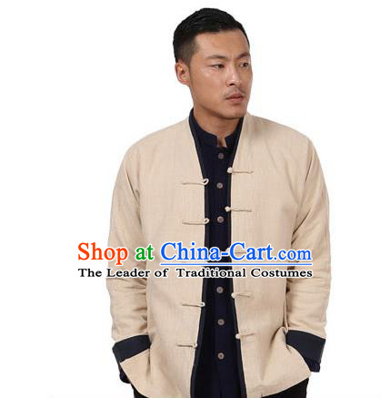 Traditional Chinese Kung Fu Costume Martial Arts Linen Beige Plated Buttons Coats Pulian Meditation Clothing, China Tang Suit Jackets Wushu Taiji Clothing for Men