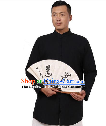 Traditional Chinese Kung Fu Costume Martial Arts Ramie Black Shirts Pulian Meditation Clothing, China Tang Suit Overshirts Tai Chi Long Gown for Men