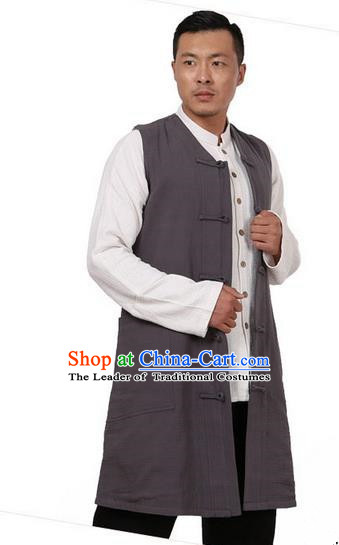 Traditional Chinese Kung Fu Costume Martial Arts Grey Vest Pulian Meditation Clothing, China Tang Suit Waistcoat Tai Chi Long Weskit for Men