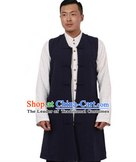 Traditional Chinese Kung Fu Costume Martial Arts Navy Vest Pulian Meditation Clothing, China Tang Suit Waistcoat Tai Chi Long Weskit for Men