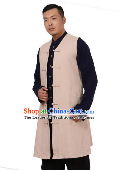 Traditional Chinese Kung Fu Costume Martial Arts Beige Vest Pulian Meditation Clothing, China Tang Suit Waistcoat Tai Chi Long Weskit for Men