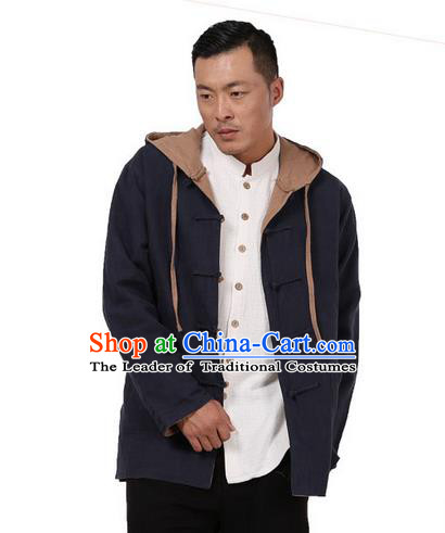 Traditional Chinese Kung Fu Costume Martial Arts Reversible Coats Pulian Meditation Clothing, China Tang Suit Overcoat Tai Chi Hooded Khaki Jacket for Men