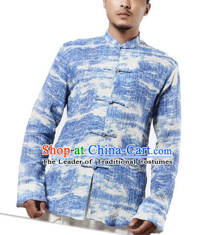 Traditional Chinese Kung Fu Costume Martial Arts Tang Suit Shirts Pulian Meditation Clothing, China Tai Chi Plated Buttons Blue Overshirts for Men