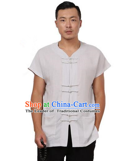 Traditional Chinese Kung Fu Costume Martial Arts Tang Suit Plated Buttons Shirts Pulian Meditation Clothing, China Tai Chi Grey Short Sleeve T-shirts for Men