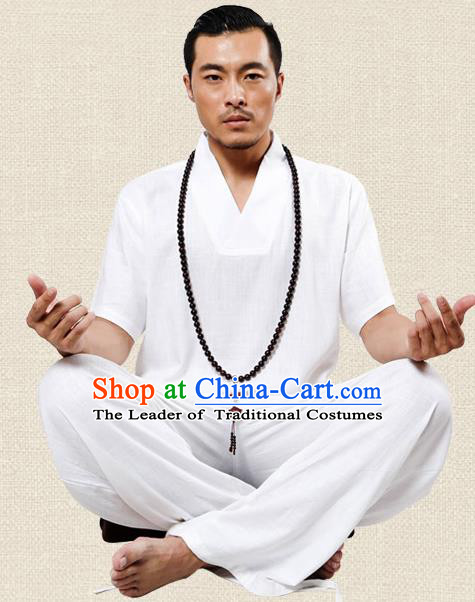 Traditional Chinese Kung Fu Costume Martial Arts Linen Plated Buttons White Suits Pulian Meditation Clothing, China Tang Suit Uniforms Tai Chi Clothing for Men