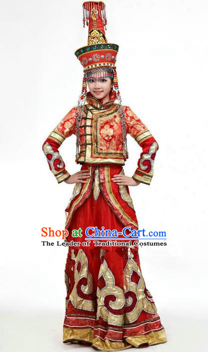 Traditional Chinese Mongol Nationality Dance Costume and Hat Complete Set, Mongols Female Folk Dance Ethnic Pleated Skirt, Chinese Mongolian Minority Nationality Red Dress Clothing for Women