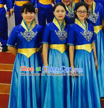Chinese Classic Stage Performance Chorus Singing Group Costumes, Opening Dance Competition Blue Dress, Classic Dance Clothing for Women