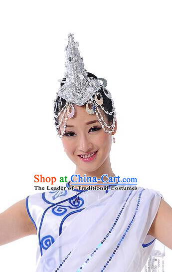 Traditional Chinese Dai Nationality Peacock Dancing Headwear, Chinese Minority Nationality Folk Dancing Headpiece Hat for Women