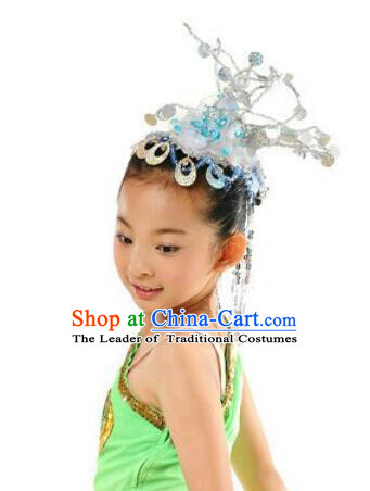 Traditional Chinese Dai Nationality Peacock Dancing Headwear, Chinese Minority Nationality Children Folk Dancing Headpiece Hat for Kids