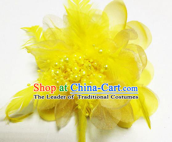 Traditional Chinese Folk Dance Headwear Yangko Hair Accessories, Chinese Classical Dance Yellow Feather Headpiece Hair Pin for Women