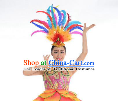 Traditional Chinese Folk Dance Feather Headwear Yangko Hair Accessories, Chinese Classical Dance Opening Dance Headpiece Hair Pin for Women
