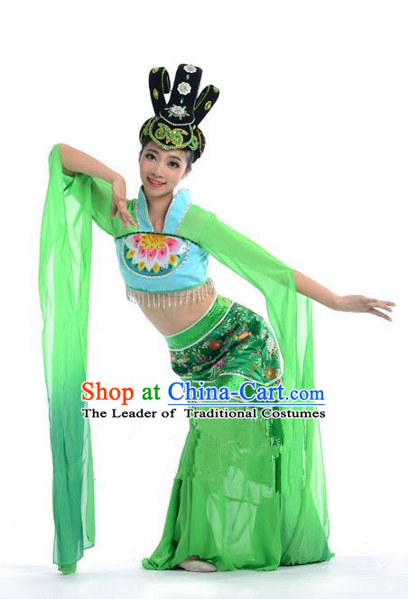 Traditional Chinese Classical Dance Flying Dance Water Sleeve Costume, Folk Dance Drum Dance Uniform Yangko Green Dress for Women